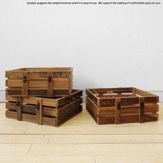 収納ボックス 小物入れ 木箱 幅37cm ニレ古木 木製 ニレ古材とスチールを組み合わせたレトロな雰囲気を漂わせるヴィンテージ風