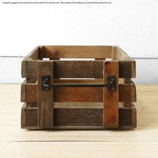 ※現在欠品中、次回入荷予定は未定です。収納ボックス 小物入れ 木箱 幅23.6cm ニレ古木 木製 ニレ古材とスチールを組み合わせたレトロな雰囲気を漂わせるヴィンテージ風