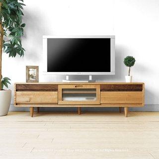 テレビ台 タモ無垢材を使用した角に丸みのあるデザインのテレビボード 開梱設置配送 幅150cm タモ材とウォールナット材のツートンカラー 木製 ガラス扉付き ナチュラル色
