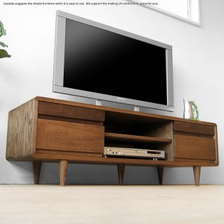 テレビ台 タモ無垢材 角に丸みのあるデザインのテレビボード 幅125cm タモ材 ウォールナット材 ツートンカラー 木製 ダークブラウン色