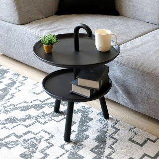 サイドテーブル ブラック ソファ前の収納テーブル PP樹脂 ポリプロピレン 傘のような持ち手があるサイドテーブル 丸テーブル