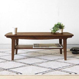 ローテーブル センターテーブル リビングテーブル 幅95cm ウォールナット材 ウォールナット突板 角が丸いデザイン 棚付き オイル仕上げ