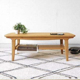 ローテーブル センターテーブル リビングテーブル 北欧モダン 幅95cm ナラ材 ナラ突板 角が丸いデザイン 棚付き オイル仕上げ