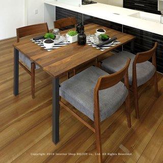 ダイニングテーブル 食卓 幅120cm 幅135cm 幅150cm 幅165cm ウォールナット材 ウォールナット無垢材 ブラック脚 スチール脚 開梱設置配送