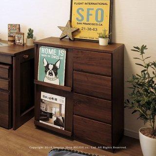 本棚 ブックシェルフ ディスプレイラック チェスト 受注生産商品 幅68cm ウォールナット材 ウォールナット無垢材