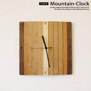 在庫限り 壁掛け時計 ウォールナット材 無垢材 木製 6樹種の木材をミックスしたカラフルで優しげなデザイン MOUNTAIN-CLOCK