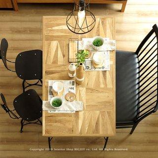 ダイニングテーブル 食卓 幅95cm 125cm 155cm 185cm 受注生産商品 開梱設置配送 ナラ無垢材 オイル仕上げ ヴィンテージテイスト 幾何学的なデザイン