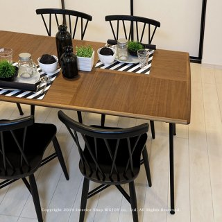ダイニングテーブル 食卓 開梱設置配送 幅150cm 幅180cm ウォールナット突板 ウォールナット材 ブラックスチール脚 金属脚 ブラック(※チェア別売)