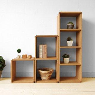 収納ブロック オープンシェルフ オープンラック 飾り棚 A、D、F3点セット ナラ材 ブロックを積み重ねるように組み合わせ