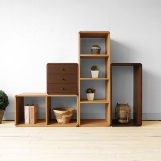 収納ブロック オープンシェルフ オープンラック 飾り棚 B、C、D、F4点セット ナラ材 ブロックを積み重ねるように組み合わせ