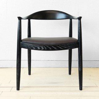 ダイニングチェア アームチェア 肘付き椅子 ワイドチェア タモ無垢材 タモ材 ブラック色 革張り カントリーモダンテイスト 木製
