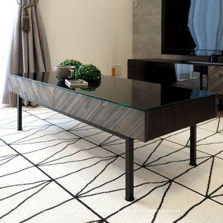 ローテーブル リビングテーブル ガラス天板 ダークグレー ブラック スチール脚 モダンテイスト 幅105cm センターテーブル 引き出し 収納棚付き