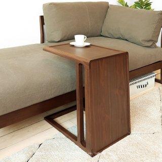 サイドテーブル コーヒーテーブル 縦置き横置きできる ユニークなコの字デザイン ウォールナット材 ウォールナット突板 北欧テイスト