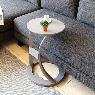 ブラック在庫限り サイドテーブル 曲線的なデザイン ソファサイドやソファ前の収納 グレー ブラック ナチュラル 丸テーブル