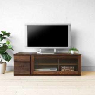 テレビ台 ガラス扉 引き出し ユニットテレビボード  幅120cm ウォールナット材 木製 ユニット家具 無垢天板は納期30日