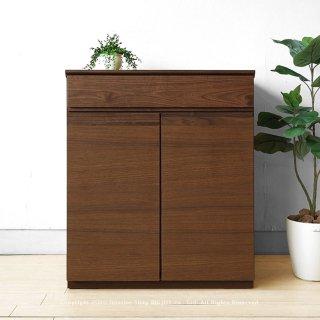 キャビネット プリンター収納用のスライドテーブル付き 幅60cm ウォールナット材 板戸 ユニット型キャビネット 木製 ナチュラルテイスト