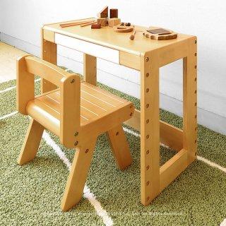キッズデスクセット 木製机と椅子 子ども用ミニチュアデスクとミニチュアチェア ラバー材 丸みを帯びたフォルムが可愛らしい ラバー材 高さ調節機能付き