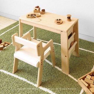 キッズデスクセット 木製机と椅子 子ども用ミニチュアデスクとミニチュアチェア 丸みを帯びたフォルムが可愛らしい イスは2段階の高さ調節機能付き ホワイト ベージュ