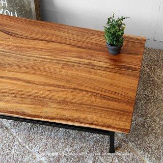 リビングテーブル ローテーブル センターテーブル 幅90cm アカシア無垢材 耳付き天板が魅力を駆り立てる スチール脚
