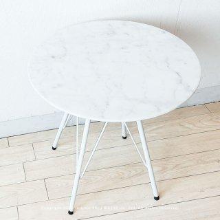 サイドテーブル 大理石 天然大理石 ソファサイドテーブル 丸テーブル ホワイト脚 スチール