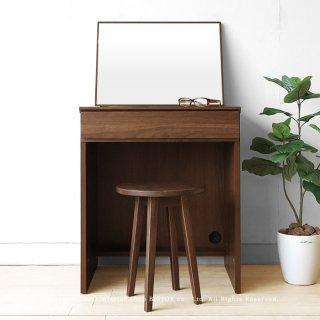 ドレッサー 化粧台 幅60cm ウォールナット材 ウォールナット無垢材 木製机 書斎机 デスク 置きミラーを組み合わせたユニット(※チェア別売)