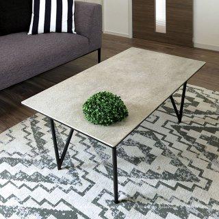 ローテーブル リビングテーブル センターテーブル 幅100cm セラミック天板 ブラックスチール脚 クールモダンな雰囲気