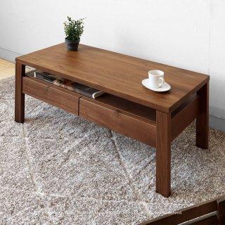 ローテーブル 引き出し付きセンターテーブル 収納棚付きリビングテーブル 受注生産商品 幅90cm 奥行40cm ウォールナット材 ウォールナット無垢材 木製