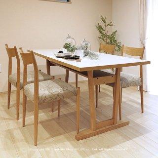 ダイニングテーブル メラミン天板 ホワイト 開梱設置配送 4人掛け 幅165cm オーク突板 オーク無垢材(※チェア別売)