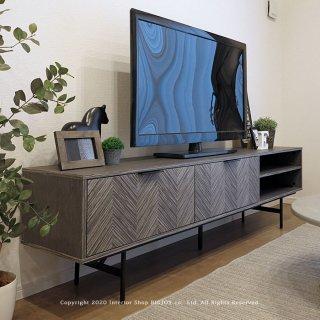 テレビ台 テレビボード 幅180cm 開梱設置配送 グレー モノトーン クールモダン 矢羽柄の芸術的なデザイン