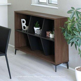 本棚 収納シェルフ オープンシェルフ 飾り棚 幅120cm 3列2段 ウォールナット色 ブラック色