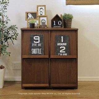 本棚 ブックシェルフ ディスプレイラック チェスト 受注生産商品 開梱設置配送 幅77cm ウォールナット材 木製 シンプルモダンデザイン オフィス家具