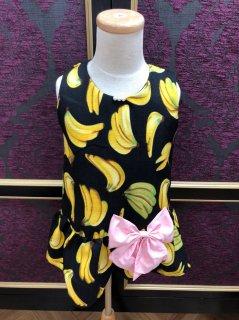 キッズワンピース XS(80cm) バナナ ブラック リボン