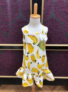 キッズワンピース M(100cm)バナナ ホワイト フリル