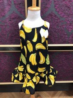 キッズワンピース S(90cm)バナナ ブラック フリル
