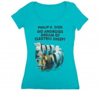 Philip K. Dick / Do Androids Dream of Electric Sheep? Scoop Neck Tee (Tahiti Blue) (Womens)