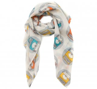 Typewriter Lightweight Scarf (White)