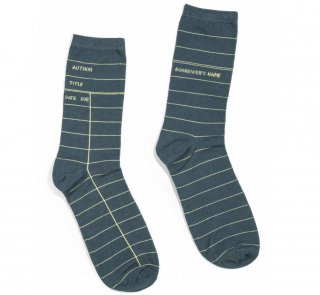 Library Card Socks (Grey)