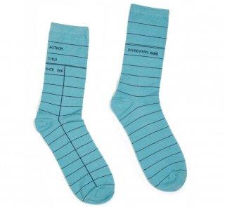 Library Card Socks (Blue)