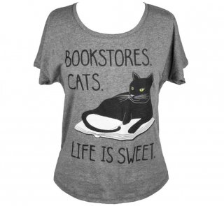 Bookstores. Cats. Life is Sweet. Dolman Tee (Heather Grey) (Womens)