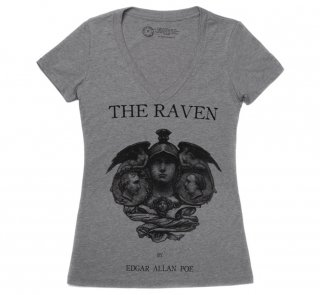 Edgar Allan Poe / The Raven V-Neck Tee (Dark Heather Grey) (Womens)