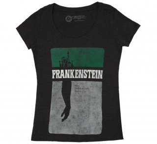 Mary Wollstonecraft Shelley / Frankenstein Scoop Neck Tee (Black) (Womens)