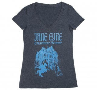 Charlotte Brontë / Jane Eyre V-Neck Tee (Midnight Navy) (Womens)
