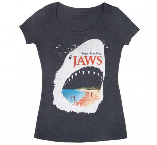 Peter Benchley / Jaws Scoop Neck Tee (Vintage Navy) (Womens)