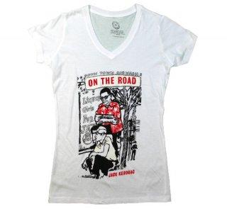 Jack Kerouac / On The Road V-Neck Tee (White) (Womens)
