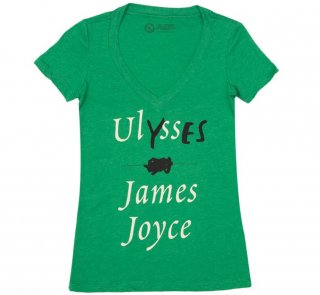 James Joyce / Ulysses V-Neck Tee (Kelly Green) (Womens)
