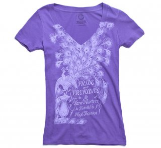 Jane Austen / Pride and Prejudice V-Neck Tee (Purple) (Womens)