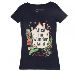 Lewis Carroll / Alice im Wunderland Scoop Neck Tee (Midnight Navy) (Womens)