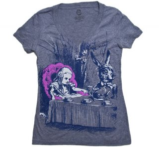 Lewis Carroll / Alice's Adventures in Wonderland V-Neck Tee (Heather Grey) (Womens)