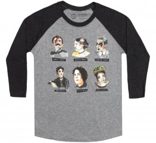 Punk Rock Authors Raglan Sleeve Tee (Heather Grey / Black)