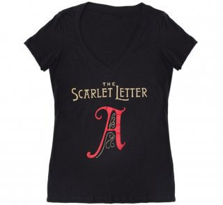 Nathaniel Hawthorne / The Scarlet Letter V-Neck Tee [Gilded] (Black) (Womens)